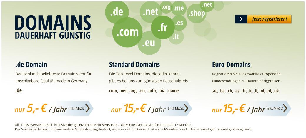 Domains dauerhaft g�nstig
